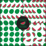 Set of 4 watermelon slice seamless pattern. Royalty Free Stock Photos