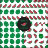 Set of 4 watermelon slice seamless pattern. Royalty Free Stock Photos