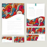 Set of wave abstract cards, invitations. Vector wave tileable pa Royalty Free Stock Images