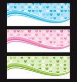 Set of wave background banner or header. Vector illustration Stock Photos