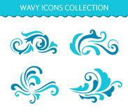 Set of wave icons, curly water splashes vector illustration