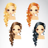 Set Of Wave Long Hair Styling Royalty Free Stock Photos