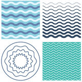 Set wave pattern and wavy circle. Set wave pattern template and wavy circle. Blue and black waves. Graphic vector background with waves royalty free illustration