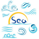 Set the wave sea sun i. Solated on white background vector illustration
