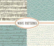 Set of wave seamless patterns background. Great for textile or web page background Royalty Free Stock Photography