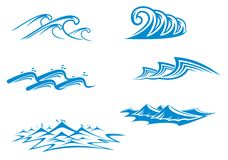 Set of wave symbols Stock Photos