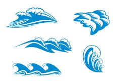 Set of wave symbols royalty free illustration