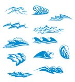 Set of wave symbols. For design isolated on white Stock Photography