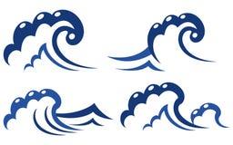Set of wave symbols. Ocean and sea waves set for desig Royalty Free Stock Image