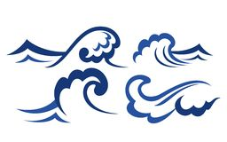 Set of wave symbols. Ocean and sea waves set for desig Royalty Free Stock Photos