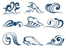 Set of wave symbols Royalty Free Stock Image