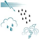Set of wave symbols and lightning. Royalty Free Stock Photos