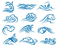 Set of waves. Illustration collection of sea waves Stock Photos