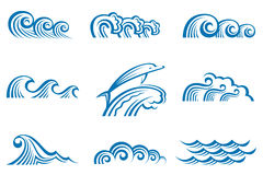 Set of waves Stock Photos