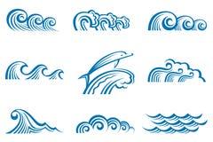 Set of waves. Illustration collection of sea waves vector illustration