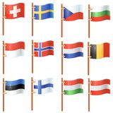Set of waving flags Stock Image