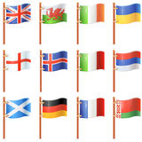 Set of waving flags Royalty Free Stock Photo