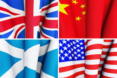 Set of waving flags. Of the United Kingdom, China, Scotland and the U.S.A Royalty Free Stock Image