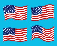 Set of waving USA flags on a blue. Set of waving USA flags on a blue background stock illustration
