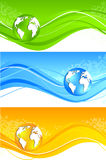 Set of wavy banner with globe Stock Photos