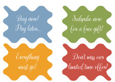 Set of 4 wavy banner, stickers, minibackground with sale texts Royalty Free Stock Photo