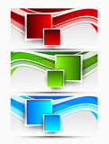 Set of wavy banners with squares Stock Photography