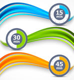 Set of wavy banners with timers Stock Photography