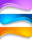 Set of wavy colorful banners. Royalty Free Stock Images