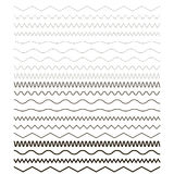 Set of wavy - curvy and zigzag Royalty Free Stock Images