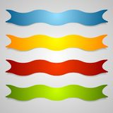 Set of wavy label ribbons Stock Photography