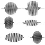 Set wavy oscillogram. Seismic wave Curve, which plots the sensor with the oscilloscope oscillographic vector concept of amplitude Stock Photo