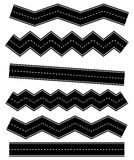 Set of wavy road elements with dashed lines Straight version is Royalty Free Stock Photos