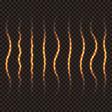 Set of wavy transparent golden lines. A trace of a golden shiny pencil. Fiery trail. Vector illustration Stock Photography