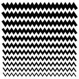 Set of wavy (zigzag) lines from thick to thin - Horizontal divid. Ers - Eps 10 Vector Illustration stock illustration