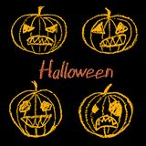 Set of wax crayon hand drawn funny spooky halloween pumpkin with letters on black background. Vector simply line cartoon pastel chalk or pencil characters. Set Royalty Free Stock Photography