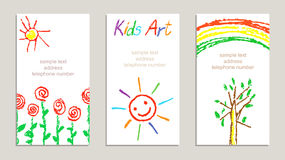 Set of wax crayon kid`s drawn colorful cards with hand drawing flowers, rainbow, sun, tree, letters on white. royalty free illustration