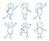 Set of wax crayon like kid`s hand drawn funny doodle man Royalty Free Stock Photography