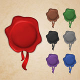 Set of wax seals Royalty Free Stock Images