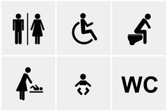 Set of WC icons gender male female baby change handicapped toilet isolated on a white background pictogram vector illustration