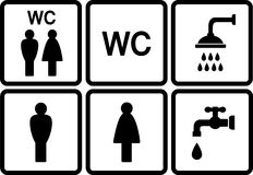 Set of wc icons with shower and tap Stock Image
