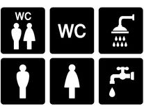 Set of WC signs with shower and tap Royalty Free Stock Image