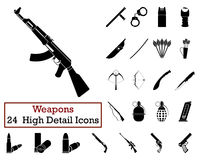 Set of 24 Weapon Icons. In Black Color.Vector illustration Royalty Free Stock Photo