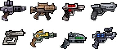 Set of weapon icons in pixel style Stock Photos