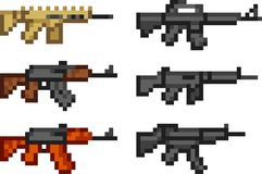 Set of weapon icons in pixel style Stock Photography