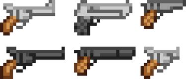 Set of weapon icons in pixel style Royalty Free Stock Photos