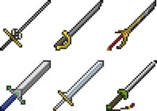 Set of weapon icons in pixel style Royalty Free Stock Photo