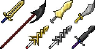 Set of weapon icons in pixel style Stock Images