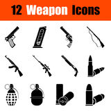 Set of weapon icons. Set of twelve weapon black icons. Vector illustration Stock Image