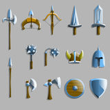 Set of weapon icons. Vector illustration. A variety of weapons, such as swords, shields, axe, bow, rainbow Royalty Free Stock Photography