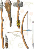 A set of weapon prehistoric man. With background pictures (stylisation Stock Illustration